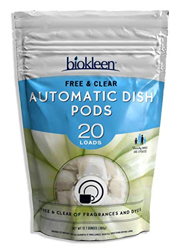 Biokleen Automatic Dish Pods, Dishwasher Detergent, Concentrated, Phosphate & Chlorine Free, Eco-Friendly, Free & Clear, 20 Pods (Pack of 12)