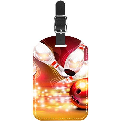TIZORAX Gepäckanhänger Bowlingball Crashing in die Pins Leder Reisekoffer Etiketten 1 Packung