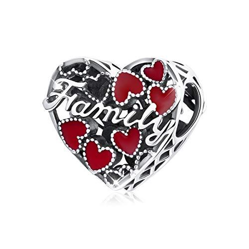 Abalorio de plata de ley 925 con forma de corazón rojo esmaltado compatible con pulsera Pandora