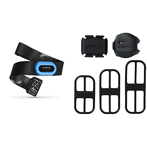 Garmin Hrm-Tri Fascia Cardio Per Nuoto, Corsa E Ciclismo, Rilevamento Frequenza Cardiaca, Nero/Azzurro & - Bundel Sensore Di Cadenza Pedalata E Sensore Di Velocità Alla Ruota, Bluetooth E Ant+