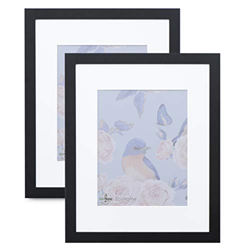 18x24 Black Picture Frame - 2 Pack - Matted for 12x18 Poster, Frames by EcoHome