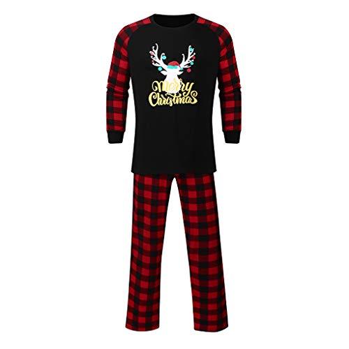 Pullover Set Btruely Unisex Schlafanzug Kinderbekleidung Clothes Set Langarm Spielanzug + Hosen Kappe Outfits Männer Deer Tops Bluse Hosen Family Pyjamas Nachtwäsche Weihnachten Outfits Set