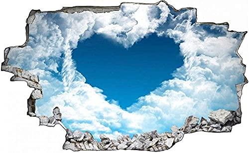Murales Love in Heaven and Heaven Rimovibile Buco strappato Decor Wallpaper PVC Art Nursery School Opera d'arte Nursery Wall Decor- Adesivo da parete autoadesivo 80x125CM