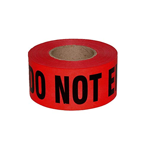 "Red Danger Do Not Enter Tape, Quarantine Tape 3"" x 330' - Safety Barrier Hazard Warning Barricade Tape Non-Adhesive for Danger/Hazardous Areas, Tear Resistant Design, Weatherproof, High Visibility"
