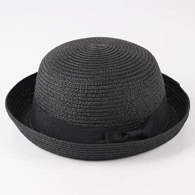 Shihuawu Sombrero de Paja para niños, decoración de Dibujos Animados, Sombrero para el Sol de Verano, niña, niño, Sombrero de Cubo, Sombrero para niños, playa-Negro-48-52cm-G0778