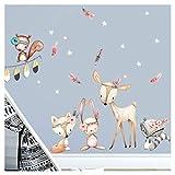 Little Deco Wandaufkleber Waldtiere mit Sternen & Federn I L - 143 x 92 cm (BxH) I REH Sticker Mädchen Wandsticker Babyzimmer Deko Kinder Aufkleber Wandtattoo DL489