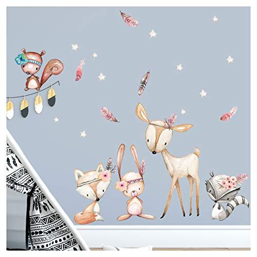 Little Deco Wandaufkleber Waldtiere mit Sternen & Federn I M - 91 x 59 cm (BxH) I REH Sticker Mädchen Wandsticker Babyzimmer Deko Kinder Aufkleber Wandtattoo DL489