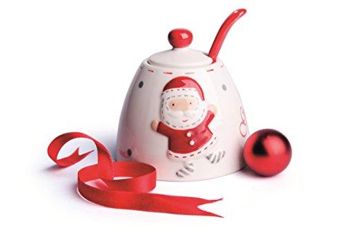 Excelsa Noël Country Style, Bol à Sucre en Céramique, Blanc/Rouge
