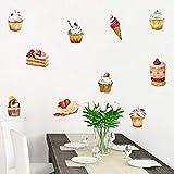 SUPWALS Pegatinas de pared Delicioso Pastel De Helado Etiqueta De La Pared Decoraciones De La Fiesta De Cumpleaños Para La Tienda De Golosinas Ventana Vinilo Diy Refrigerador Mural