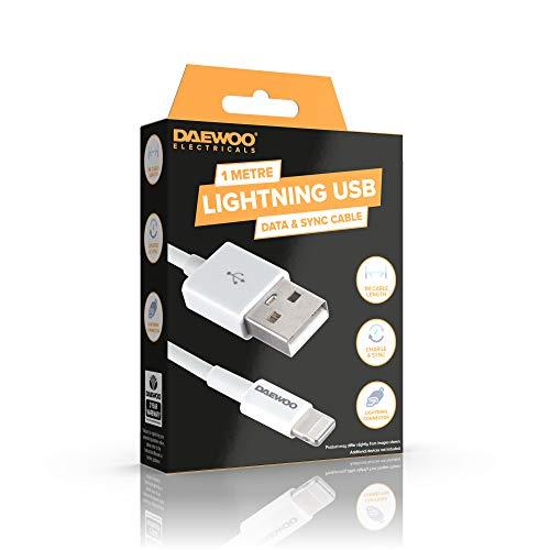 DAEWOO Cable de Carga de iluminación USB a 8 Pines para conexión de Fecha y sincronización, Nivel de Potencia 5 V 1 A, Uso con Adaptador Compatible