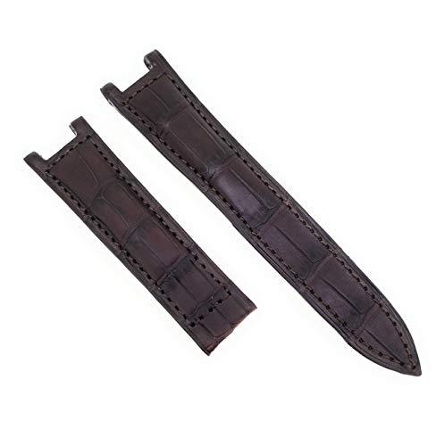 Correa de reloj para Pasha de Cartier, color marrón oscuro, cierre de piel de cocodrilo, 20 mm, fabricado en Alemania