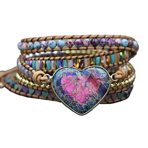 tiantianchaye Pulsera de piel hecha a mano con piedras de corazón naturales y 3 hebras envolventes pulseras bohemias de cristal de hematita de hematita