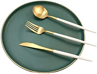 White & Gold Matte Silverware Set, 12-Piece Stainless Steel Satin Finish Flatware Set Service for 4, Kitchen Utensil Set, ...