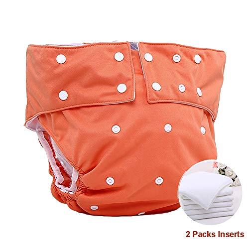 Impermeable Pañal Adulto Reutilizable Pañal de Tela para Adolescentes con 2 Paquetes de Inserciones para discapacitados Cuidado de la incontinencia Lavable Calzoncillos