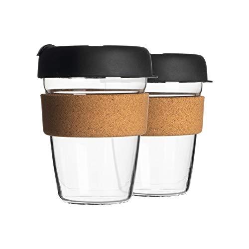 Rink Drink 2 Piezas Reutilizables Tazas del Viaje Set - Cristal del...