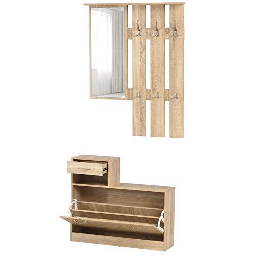 HOMCOM 3-in-1 Garderobenset Flurgaderobe mit Schuhschrank Garderobe, Wandspiegel, 6 Haken, Natur, 30,5 x 75,5 cm (Spiegel)