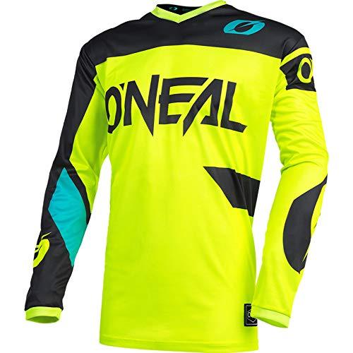 O'Neal | Maglia Motocross | Enduro MX | Traspirante, Protezione Imbottita per i Gomiti, Adatta per la Massima libertà di Movimento | Maglia Elemento Racewear | Adulto | Nero Giallo Neon | Taglia S