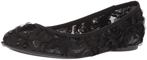 Adrianna Papell Women's Bernadette Ballet Flat, Black Botanica Sequin, 5.5 M US