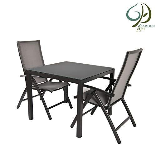 Garden Art Garden Premium Line 3er Set, 2 Gartenstühle, 1 Gartentisch - Verstellbarer Klappstuhl Klappsessel aus Aluminium Wetterfeste Gartenmöbel