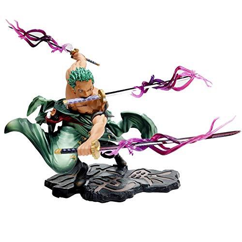 JINGRU Anime Figur 21cm New Anime One Piece Figuren Roronoa Zoro Figur DREI-Messer-Kampffähigkeit Zoro Actionfigur PVC Collection Model Toys