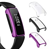 NANW 3-Pack Screen Protector Compatible with Fitbit Inspire 2 (Not for Inspire/Inspire HR), All-Around Protective PC Case Plated Anti-Scratch Cover Rugged Bumper Shell for Inspire 2 Smartwatch