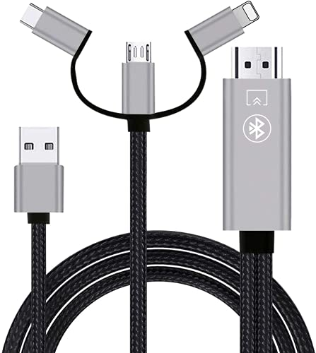 Ozvavzk Teléfono a HDMI Adaptador,Phone a HDMI Cable con Audio Bluetooth 3 en 1 USB/Tipo C/Flash Admite HDTV 1080P, para TV/Proyector/Monitor,Adecuado para Xiaomi/Huawei/Mac/Pod Pad