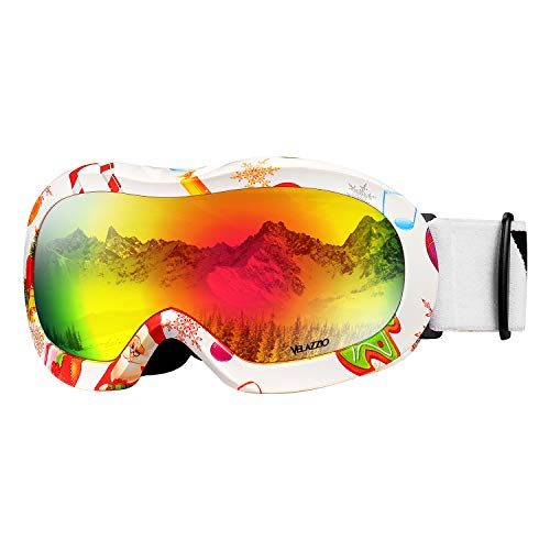 Kids Ski Goggles, Snowboard Goggles - VELAZZIO OTG Snow Goggles Anti-Fog Double-Layer Lenses, 100% UV Protection (Christmas White Frame/Grey Lens with Revo Red Coating (VLT 15%))