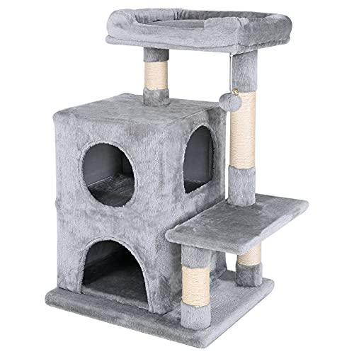 lionto by dibea Tiragraffi per gatto albero tiragraffi gatto gioco giocattolo gatti Altezza 80 cm Grigio scuro