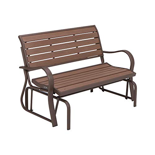 LIFETIME 60290 Wood Alternative Glider Bench, Mocha Brown
