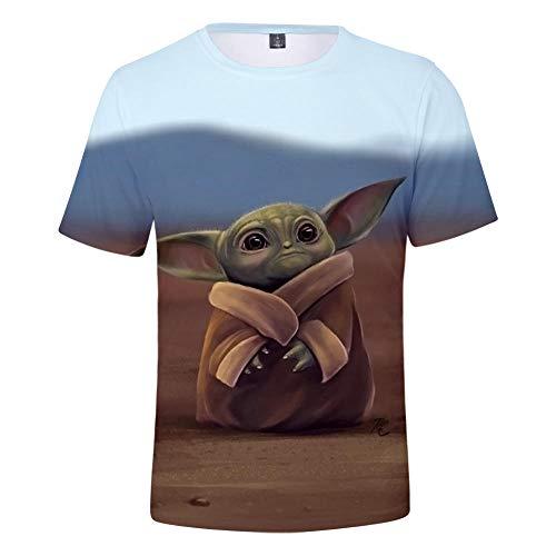 Unisex Sommer T-Shirt 3D Digitaldruck Mandalorian Baby Yoda Serie Muster lässig Männer und Frauen Kurze Ärmel-S_S.