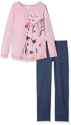 Sanetta Mädchen 232085 Long Zweiteiliger Schlafanzug, Rosa (Kiss 3834), 92