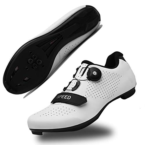 Mens Cycling Shoes Road Bike Shoe with SPD,Peloton Shoes with Buckle Delta Compatible for Indoor Riding Racing White