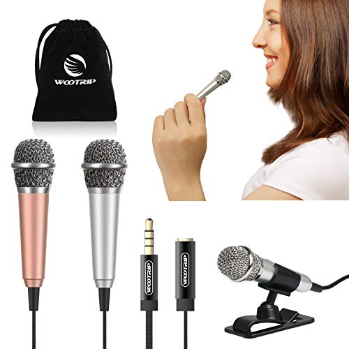[2PCS] Mini Karaoke Microphone, Wootrip Mini Voice Recording Microphone Portable Karaoke Mic for Singing, Recording, Voice Recording (Gold and Silver)
