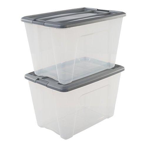 Amazon Basics NTB-60 X2 lote de 2 cajas apilables de almacenamiento, Gris, 60 L