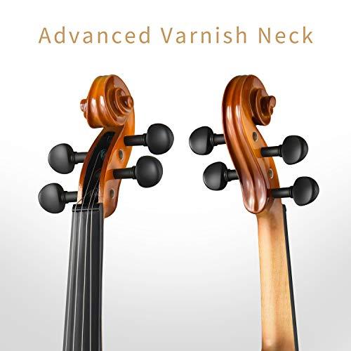 Eastar Violino 4/4 Legno Massiccio Violino Set Principiante Studente Adulto con 2 Archetti Custodia Colofonia Corde Extra