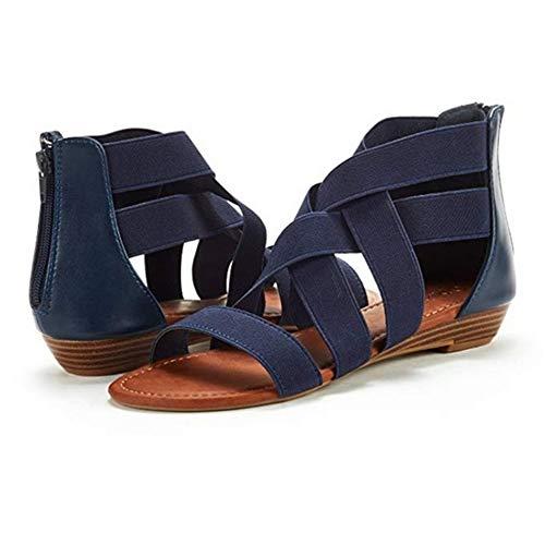 NHMDE Women'S Sandalen, Zomer Dames Persoonlijkheid Open-Toed Platte Sandalen Mode Gladiator Casual Retro Beach Schoenen Eenvoudige Donker Blauw Elegante Cross Belt Comfortabele Anti-lip Ademend