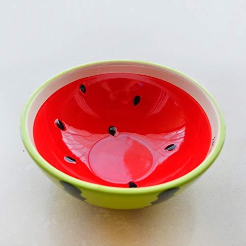 Soporte de exhibición para frutas, diseño creativo de frutas de dibujos animados de modelado de cerámica, vajilla, sandía, frutas, ensalada, postre y aperitivos, plato decorativo (color 16 x 7 cm)