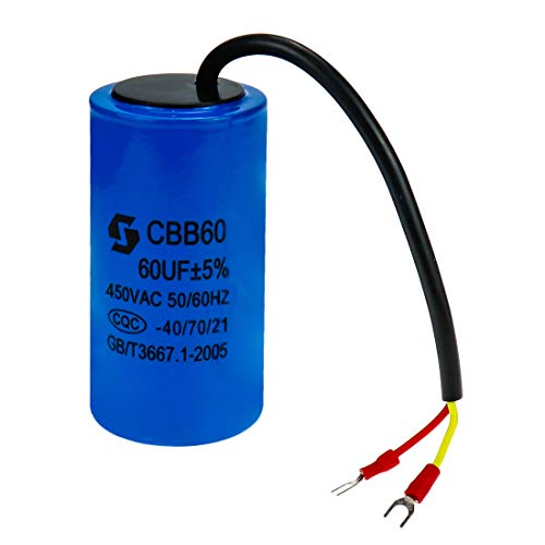 Sydien Cylindrical CBB60 Motor Run Capacitor 60UF for Running Motors with Frequency of 50Hz/60Hz, Washing Machines, Air Conditioners, Refrigerators & Water Pumps(Blue)