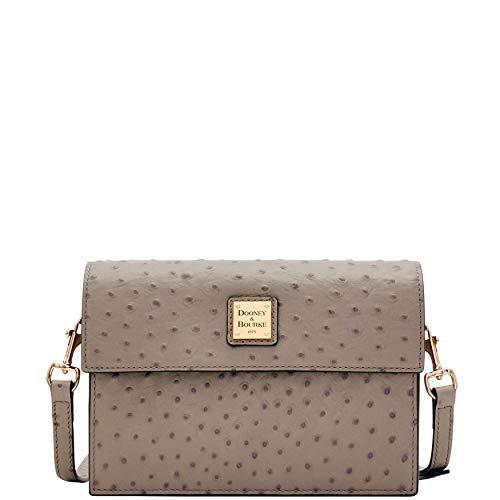 Dooney Bourke Ostrich Flap Crossbody Handbag Bag (Ostrich Grey)