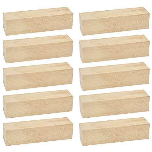 FOCCTS 10pcs Kit de Bloques de Talla de Hobby de Madera Blanda de Talla Superior Secado al Horno para Niños, Adultos, Principiantes y Expertos (10x2.5x2.5cm)