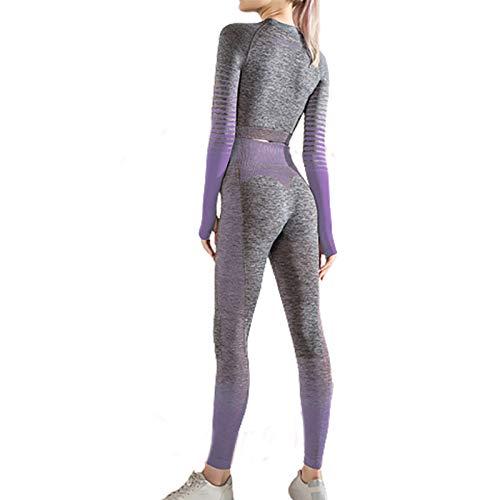 Conjunto de ropa deportiva para mujer, pantalones sin costuras 2 piezas, mallas gimnasio transpirables, yoga cintura alta elásticos, correr, traje parte superior y cintura, conjunto chándal ceñido