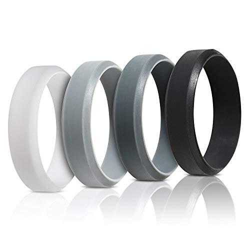 Saco Band Silicone Rings for Men - 7Pack & 4Pack Beveled Rubber Wedding Bands (Black, Dark Grey, Light Grey, White, 10.5-11 (20.6mm))