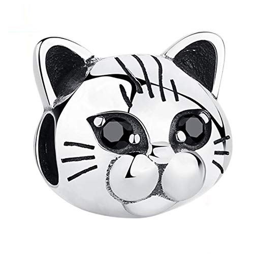 Money Cat Charms Lucky Animal Charms for Bracelets 925 Sterling Silver Paw Print Bead Charm Women Charm Bracelets and Necklace (A)