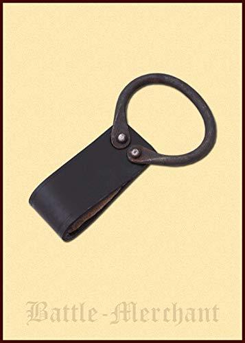 Battle-Merchant Axtgürtelhalter / Hammerhalter aus Leder mit geschmiedetem Ring - Halter für Äxte, Hammer, Beile, Dolche und andere Werkzeuge Axthalter - Halterung