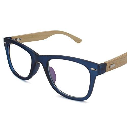 Korean Glasses Frame With Clear Lens, Retro Eyewear Frames Bamboo Spectacle Eyeglasses Frame For Women Men (Blue)