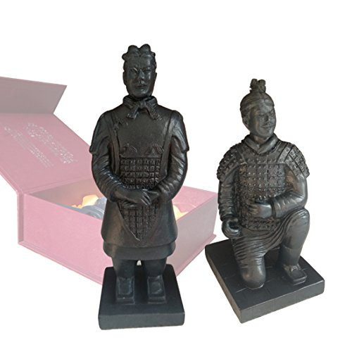 Resin Terracotta Warriors, Antique Reproduction China Qin Dynasty Terracotta Warrior Sculpture Home Display Table Display Bonsai Display Multi Presentation in Gift Box (Set of 2 (5.5' Tall))