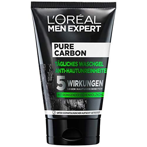 L'Oréal Paris Men Expert Waschgel für das Gesicht, Unreine Haut, Gesichtsreinigung für Männer, Pure Carbon Waschgel Anti-Hautunreinheiten, 1 x 100 ml