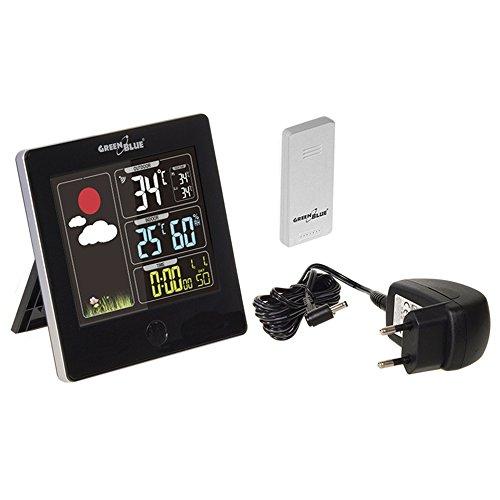 GreenBlue Draadloos weerstation met buitensensor, kalender, hygrometer, thermometer, DCF, wekker, batterij en netvoeding zwart