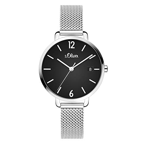 s.Oliver Damen Analog quarz Armbanduhr mit Edelstahl SO-4082-MQ