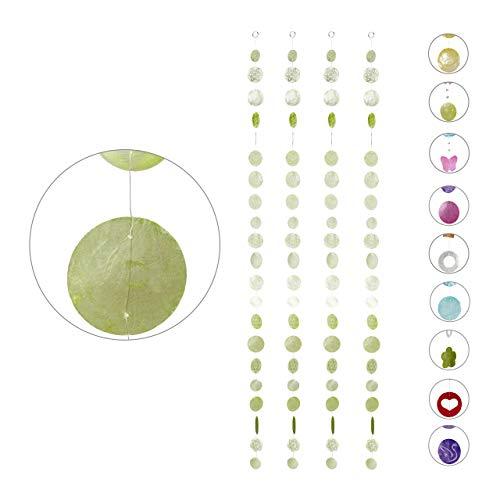 Relaxdays Capiz Girlande 4er Set, für Fenster, Balkon, Tür, Muschelplättchen Vorhang, Dekoketten 180 cm, Stern, hellgrün, 4 Stück
